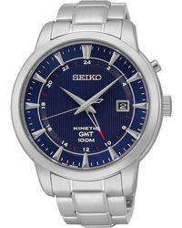 Seiko - Mens 'kinetic Gmt' Silver Bracelet Watch Sun031p1 - Lyst