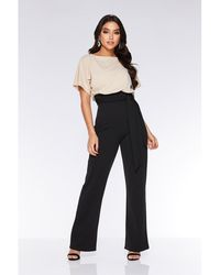 2891ab7b8ca Quiz - Stone And Black Batwing Palazzo Jumpsuit - Lyst