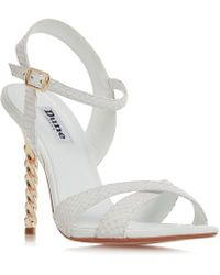 Dune - White Leather 'magician' High Stiletto Heel Ankle Strap Sandals - Lyst