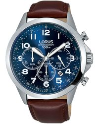 Lorus - Men's Blue Dial Chronograph Brown Leather Strap Watch Rt379fx9 - Lyst