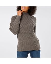 Dorothy Perkins - Grey High Neck Cable Jumper - Lyst