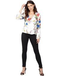Izabel London - White Floral Print Ruffle Sleeve Wrap Top - Lyst