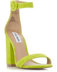 Steve Madden - Light Green Suede 'friday' Mid Block Heel Ankle Strap Sandals - Lyst
