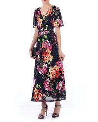 Jolie Moi Navy Fluted Sleeves Mesh Maxi Dress - Blue