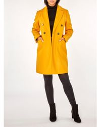 Dorothy Perkins - Ochre Double Breasted Coat - Lyst