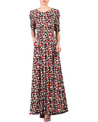 Jolie Moi Print Half Sleeves Maxi Dress - Red