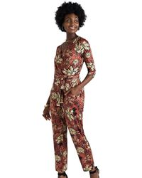 Yumi' Animal And Floral Jumpsuit - Red