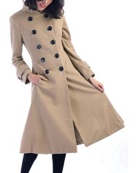 Jolie Moi Double Breasted Flare Coat - Natural