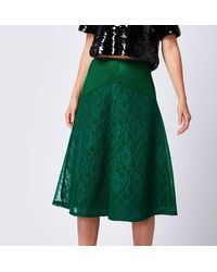 Angeleye Lace A-line Midi Skirt - Green