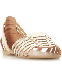 Dune - Gold Leather 'gili' Gladiator Sandals - Lyst