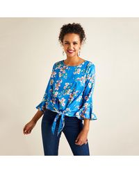 Yumi' Spring Flower Print With Tie Knot Detail - Blue