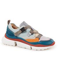 Chloé Triple S Sneaker Met Leren Details - Blauw