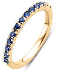 Diamond Point Geelgouden Ring 0-37 Ct Blauwe Saffier Ensemble - Metallic