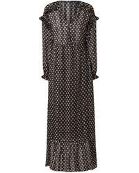 Scotch & Soda Maxi-jurk Met V-hals En Ruches - Zwart