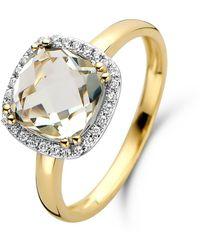Diamond Point Geelgouden Ring 2-40 Ct Groene Amethist Fiësta - Metallic