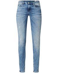 Tommy Hilfiger Como Nola Mid Waist Skinny Fit Jeans Met Lichte Wassing - Blauw