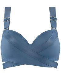 Marlies Dekkers   Cache Coeur Plunge Balconette Bikinitop Met Strikdetail - Blauw
