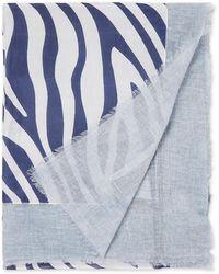 Fraas Sjaal In Zijdeblend Met Dessin 185 X 70 Cm - Blauw