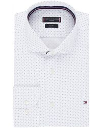 Tommy Hilfiger Slim Fit Overhemd Met Stippendessin - Wit