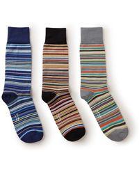 Paul Smith Multistripe Sokken In 3-pack - Naturel