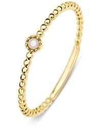 Diamond Point Geelgouden Ring Zoetwaterparel Joy - Metallic