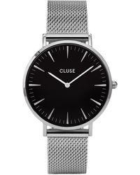 Cluse La Boheme Mesh Silver/black Horloge - Zwart