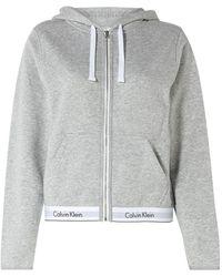 Calvin Klein Sweatvest Met Capuchon En Logoband - Grijs