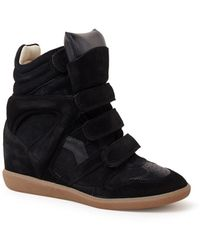 Isabel Marant Bekett Sneakerwedge Van Suède - Zwart