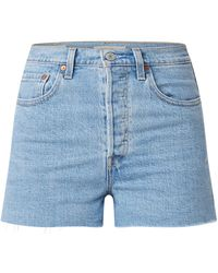 Levi's Ribcage High Waist Slim Fit Shorts Met Ripped Details - Blauw