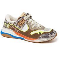 Gucci Ultrapace Sneaker Van Leer En Suède - Meerkleurig