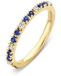 Diamond Point Geelgouden Ring 0-22 Ct Blauwe Saffier Ensemble - Metallic