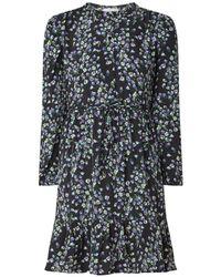 Mango Mini-jurk Met Ruches En Bloemendessin - Zwart