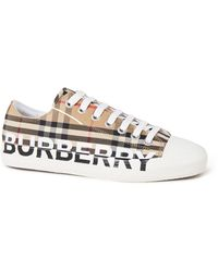 Burberry Larkhall Sneaker Met Logo - Naturel