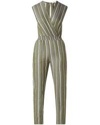Maje Pandoki Straight Fit Jumpsuit Met Overslag En Streepprint - Groen
