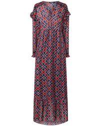 Scotch & Soda Maxi-jurk Met Ruches En Logodessin - Rood