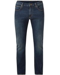 Armani Straight Fit 5-pocket Jeans Met Donkere Wassing - Blauw