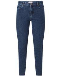 Ted Baker High Waist Skinny Fit Cropped Jeans Met Gerafelde Zoom - Blauw