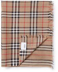 Burberry Gauze Sjaal Met Ruitdessin 220 X 70 Cm - Meerkleurig