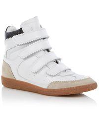 Isabel Marant Bilsy Sneakerwedge Van Leer Met Suède Details - Wit