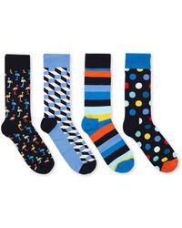 Happy Socks Sokken Met Print In 4-pack Giftbox - Blauw