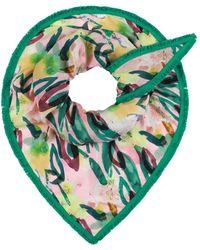 POM Amsterdam Flower Play Sjaal Met Dessin - Blauw