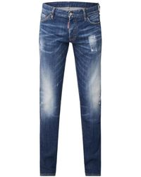 DSquared² Slim Fit Jeans Met Faded Look - Blauw