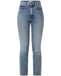 Sandro High Waist Slim Fit Cropped Jeans Met Faded Look - Blauw