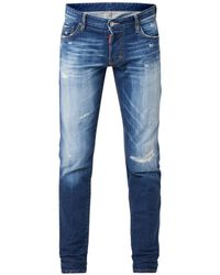 DSquared² Slim Fit Jeans Met Faded Look En Ripped Details - Blauw