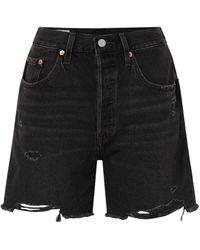 Levi's 501 High Waist Denim Shorts Met Ripped Details - Zwart