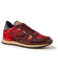 Valentino Rockrunner Sneaker Met Suède Details - Groen