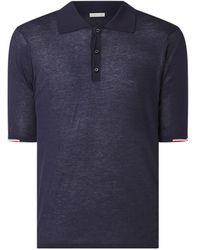 Moncler Regular Fit Fijngebreide Polo Met Getipte Boorden - Blauw
