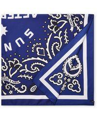 Scotch & Soda Sjaal Van Satijn Met Dessin 80 X 80 Cm - Blauw