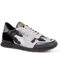 Valentino Camouflage Rockrunner Sneaker Met Suède Details - Metallic