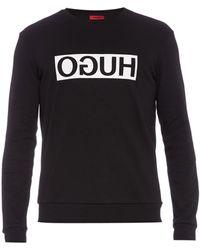 HUGO Dicago Sweater Van Katoen Met Logoprint - Zwart